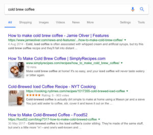 Cold brew coffee - ukázka vsledků v SERPu