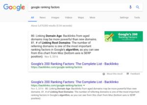 Featured Snippet - Faktory, které hodnotí Google
