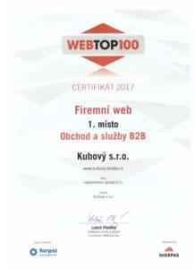 WebTop100 Certifikát 1. místo