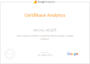 Certifikát Google Analytics