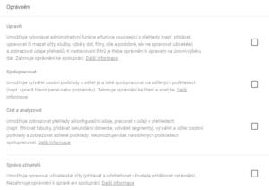 Oprávnění nastavení uživatelů v GA - netpromotion group s.r.o.