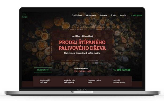 Ukázka jednostránkového webu Dřevo Mihal - netpromotion group s.r.o.
